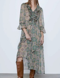 Fashion Green Laminated Decorative Print Panel Chest Dress