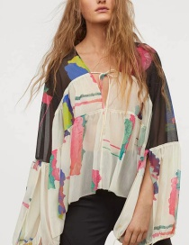 Fashion Color Loose Flower-print Tether Chiffon Top