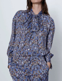 Fashion Blue Floral Print Long Sleeve Shirt With Bow