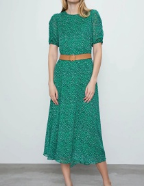 Fashion Green Belted Print Long Dress