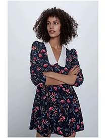 Fashion Black Print Floral Print Dress With Embroidered Neckline