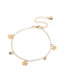 Fashion Golden Alloy bow anklet with diamonds