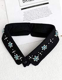 Fashion Black Fabric Alloy Diamond Fake Flower Collar