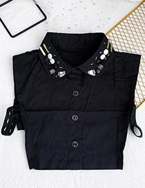 Fashion Black Cloth Resin Rice Bead Breasted Fake Collar