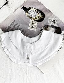 Fashion White Fabric Double Collar