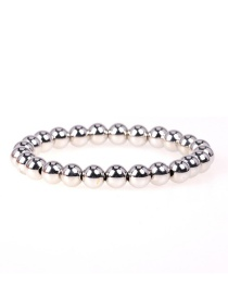Fashion Silver Beaded Elastic Color Plated 8mm Copper Bead Bracelet
