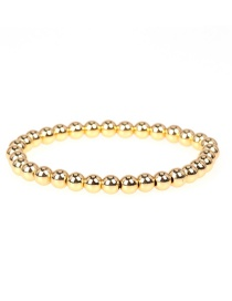 Fashion Golden Handmade Beaded Color Preservation 6mm Copper Bead Stretch Bracelet