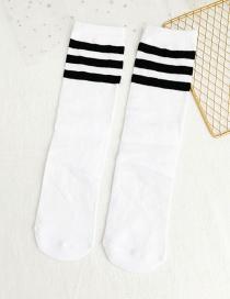Fashion White Striped Stockings