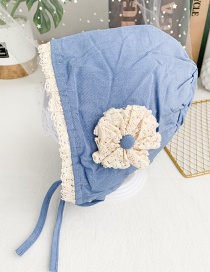 Fashion Blue Children's Fabric Lace Flower Tether Hat
