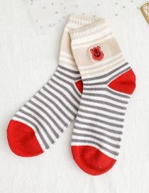 Fashion Color Striped Contrast Anchor Socks