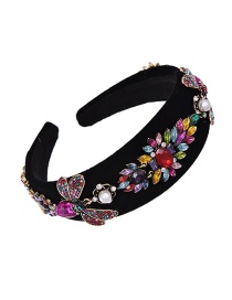 Fashion Color Fabric Alloy Diamond Bee Hoop