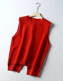 Fashion Red Round Neck Back Corded Yarn Vest