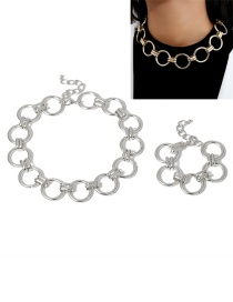 Fashion White K Ring Hollow Alloy Bracelet Necklace Set
