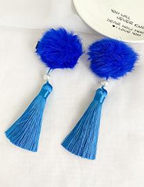 Fashion Blue Wool Ball Cotton Fringed Duckbill Hair Clip