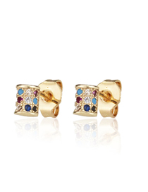 Fashion Gold-plated Color Zirconium Small Studded Cross Earrings With Zirconium