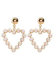 Fashion Golden Heart-shaped Alloy Earrings With Pearl Geometry