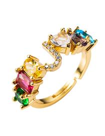 Fashion Color J Copper Micro Inlaid Zircon Letter Adjustable Ring