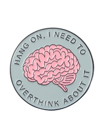 Fashion Pink Brain Thinking Pattern Introverted Character Alloy Enamel Brooch