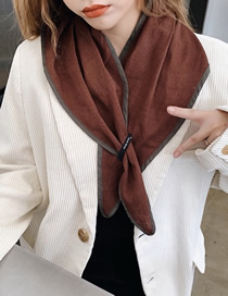Fashion Brown Contrast-edging Plain Cotton And Linen Rhombus Scarf