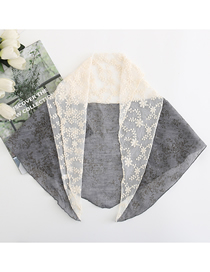 Fashion Denim Blue Small Floral Lace Stitching Triangle Scarf