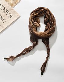 Fashion Light Brown Tie-dye Gradient Rhombus Pleated Scarf