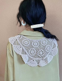 Fashion Beige Cotton Lace Lace Hollow Scarf Fake Collar