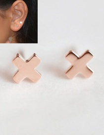 Fashion Rosy Titanium Steel Shiny Cross Stainless Steel Earrings