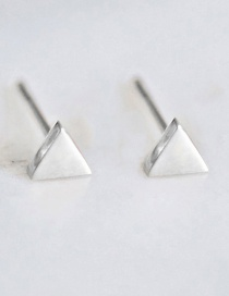 Fashion Silver Shiny Stainless Steel Geometric Triangle Earrings
