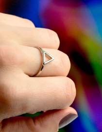 Fashion Silver Stainless Steel Geometric Triangle Openwork Thin Edge Ring