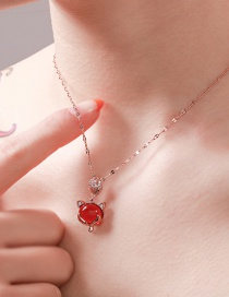 Fashion Red Fox Ruby Diamond Titanium Steel Stainless Steel Necklace