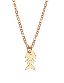 Fashion Golden Stainless Steel Hollow Fishbone Geometric Alloy Necklace
