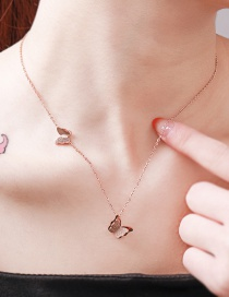 Fashion Rose Gold Titanium Steel Stainless Steel Frosted Butterfly Clavicle Chain