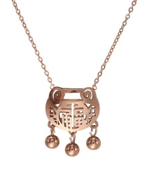 Fashion Rose Gold Long Life Lock Stainless Steel Hypoallergenic Blessing Hollow Clavicle Chain