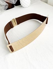 Fashion Coffee Color Rectangular Alloy Elastic Belt