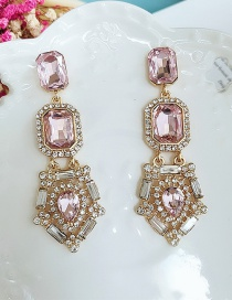 Fashion Pink Long Faceted Crystal Geometric Earrings With Diamonds