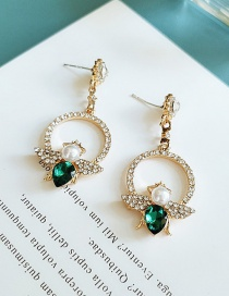 Fashion Green Alloy Pearl Insect Geometric Round Ear Studs