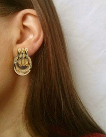 Fashion Golden Geometric Stud Earrings With Round Metal Ring