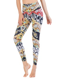 Fashion Color Matching [pants Only] Geometric Print Contrast Color Yoga Sports Fitness Pants