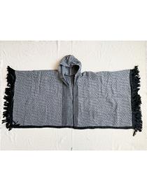 Fashion Black Hooded Checked Fringed Shawl