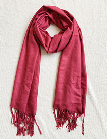 Fashion Red Knitted Tassel Scarf