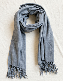 Fashion Gray Knitted Tassel Scarf