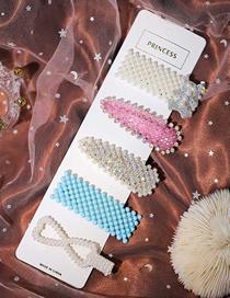 Fashion Color Mixing Diamond Hair Bear Pearl Bow Geometric Hair Clip Set