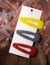 Fashion Color Mixing Resin Geometric Triangle Hollow Hairpin Set