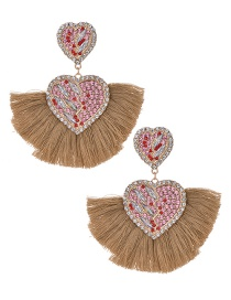 Fashion Khaki Love Tassel Earrings With Alloy Diamonds