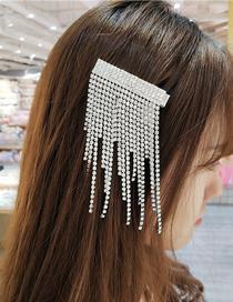 Fashion Silver Rhinestone Tassel Geometry Duckbill Clip