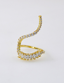 Fashion Golden Micro-set Zircon Crystal Open Curved Ring