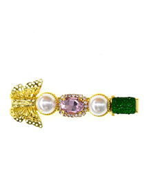 Fashion Color Mixing Crystal Butterfly Pearl Diamond Diamond Hair Clip