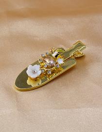 Fashion Golden Small Shovel Glossy Resin Flower Rhinestone Hairpin