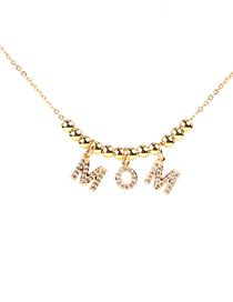 Fashion Golden Round Bead Alloy Necklace With Diamonds
