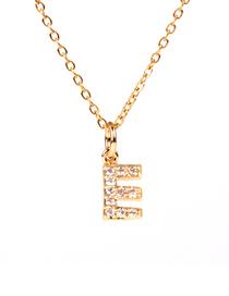 Fashion Golden E Diamond Clavicle Chain Diamond Letters Necklace